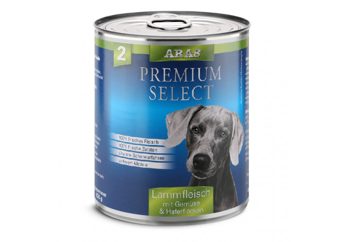 ARAS PREMIUM SELECT консервы для собак «Баранина с овощами и овсяными хлопьями» 820 г